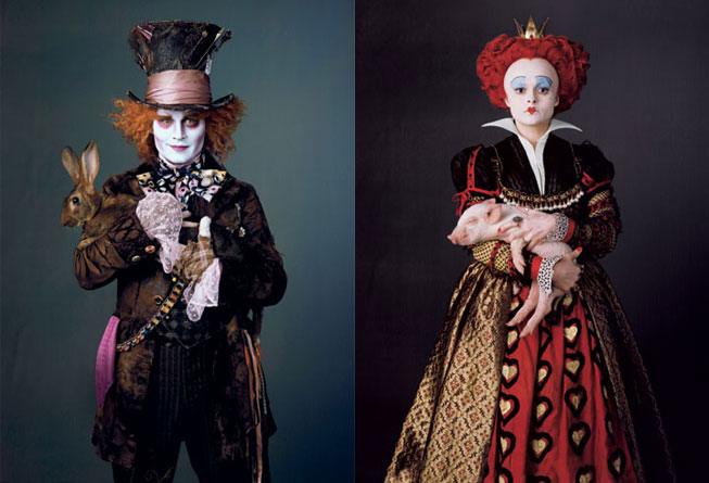 Johnny Depp as the Mad Hatter and Helen Bonham-Carter as the Red Queen.