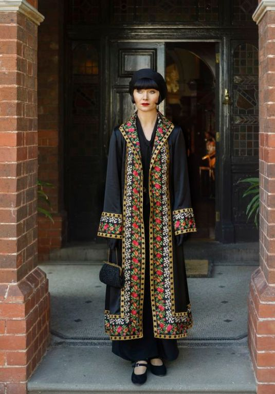 Phryne's Embroidered Black Coat